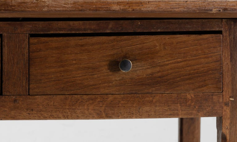 Mid-19th Century Oak 12-Drawer Refectory Table For Sale