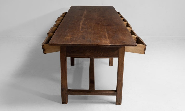 Oak 12-Drawer Refectory Table For Sale 1