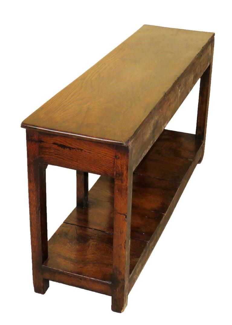 Georgian Oak 18th Century English Antique Dresser Base Sideboard For Sale