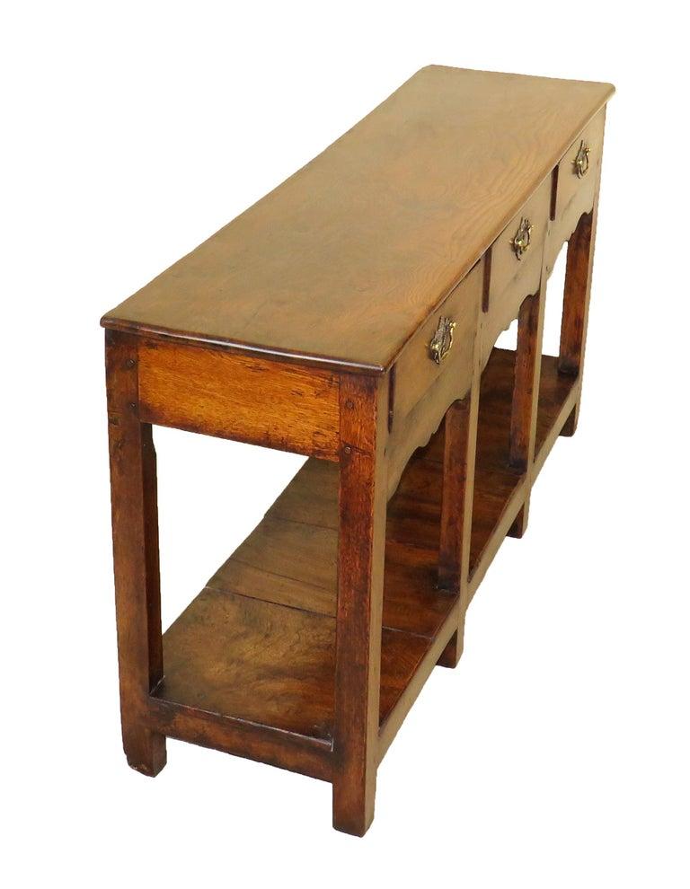 Oak 18th Century English Antique Dresser Base Sideboard For Sale 1