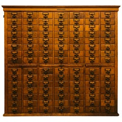 Oak 1920s Library Bureau Sole Maker Card Catalog Cabinet 105 Drawer