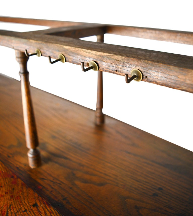 Early 20th Century Oak Standing Desk with Spindle Shelf For Sale