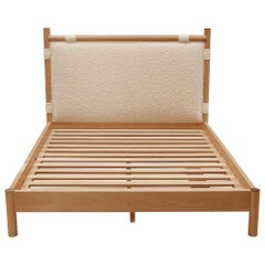 Oak and Alpaca Bouclé Chiselhurst Bed No Footboard by Lawson-Fenning, Queen