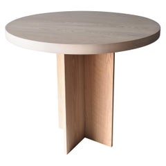 Oak and Beech Round Pedestal Dining or Entry Table by MSJ Furniture