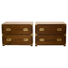 Oak and Brass Campaign Chest Nightstands/Dresser, circa 1960
