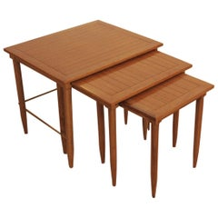 Oak and Brass Midcentury Nesting Tables
