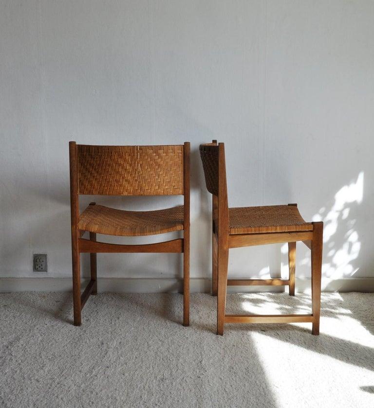 Oak and Cane Dining Chair by Peter Hvidt & Orla Mølgaard-Nielsen For Sale 7