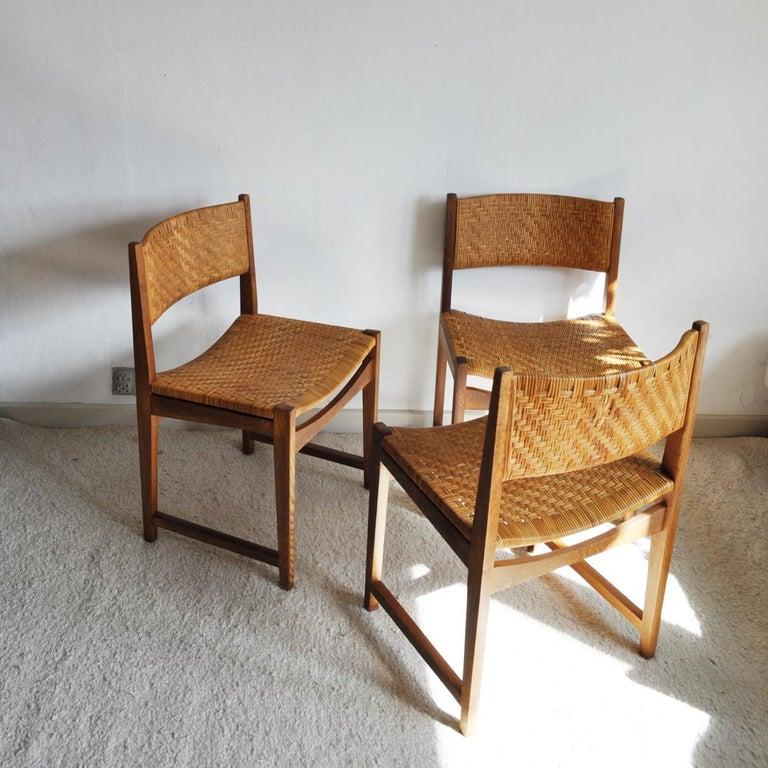Scandinavian Modern Oak and Cane Dining Chair by Peter Hvidt & Orla Mølgaard-Nielsen For Sale