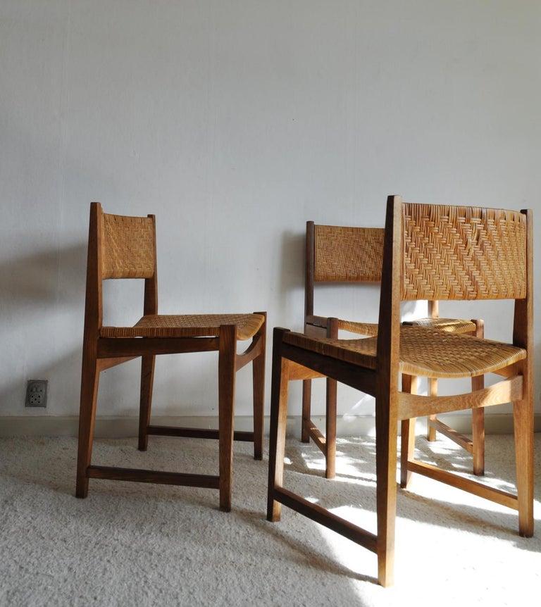 Danish Oak and Cane Dining Chair by Peter Hvidt & Orla Mølgaard-Nielsen For Sale