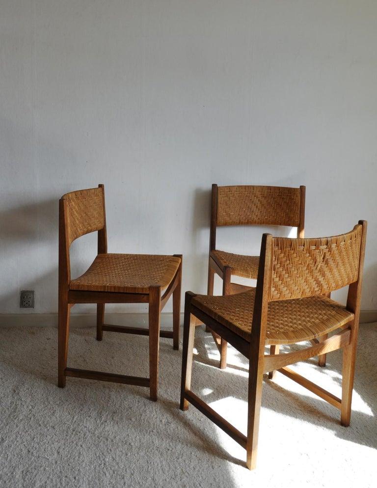 Oak and Cane Dining Chair by Peter Hvidt & Orla Mølgaard-Nielsen In Good Condition For Sale In Vordingborg, DK