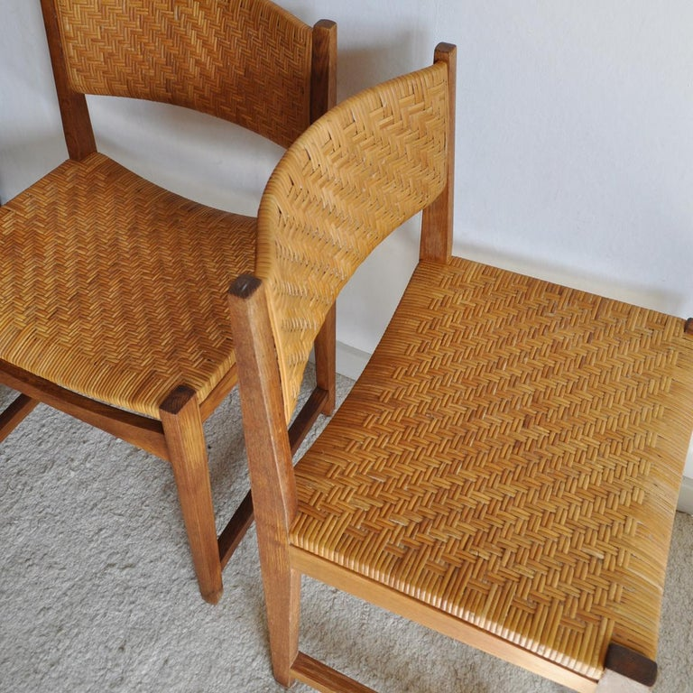 Oak and Cane Dining Chair by Peter Hvidt & Orla Mølgaard-Nielsen For Sale 1