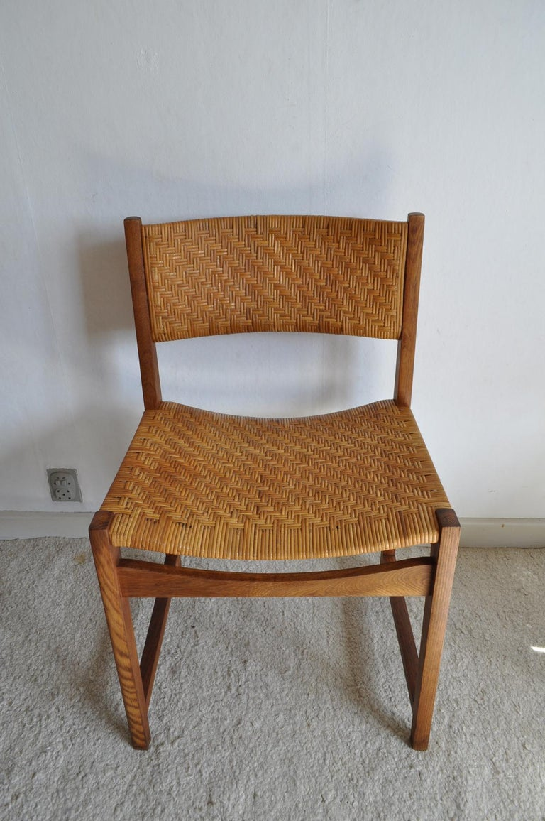 Oak and Cane Dining Chair by Peter Hvidt & Orla Mølgaard-Nielsen For Sale 2