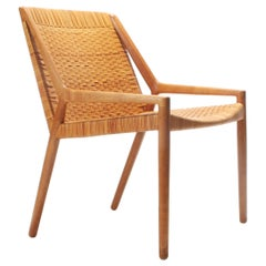 Oak and Cane Easy Chair by Larsen and Madsen