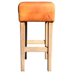 Oak and Cognac Leather Bar Stools in the Style of Jean-Michel Frank