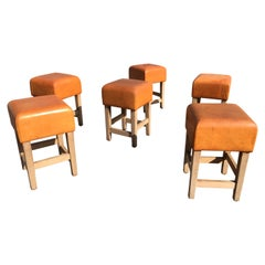 Oak and Cognac Leather Stools or Chairs in the Style of Jean-Michel Frank