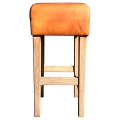 Oak and Cognac Saddle Leather Bar Stools in the Style of Jean-Michel Frank