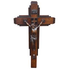 Oak and Ebonized Oak Art Deco Crucifix with a Bronzed Spelter Corpus of Christ