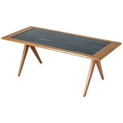 Oak and Enamel Coffee Table by Stig Lindberg