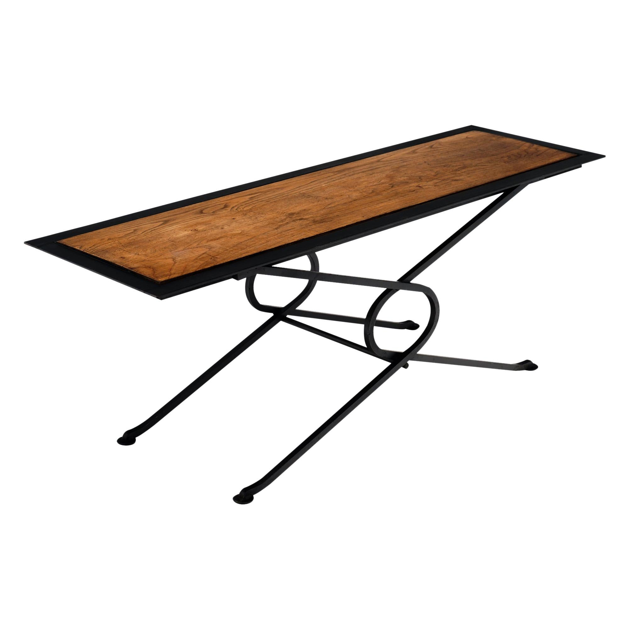 Oak and Forged Iron Coffee or Side Table
