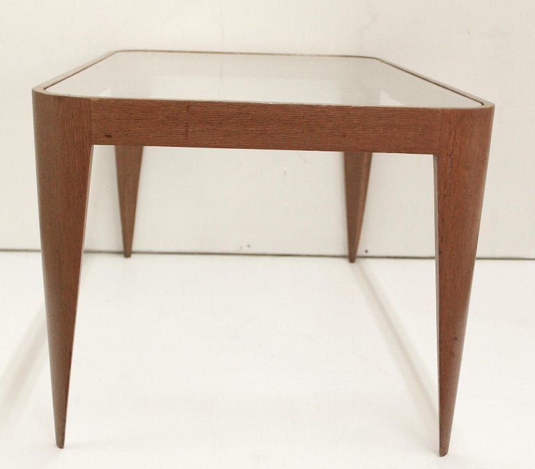 Mid-Century Modern Oak and Glass Coffee Table by Gio Ponti, Italy 1940 For Sale