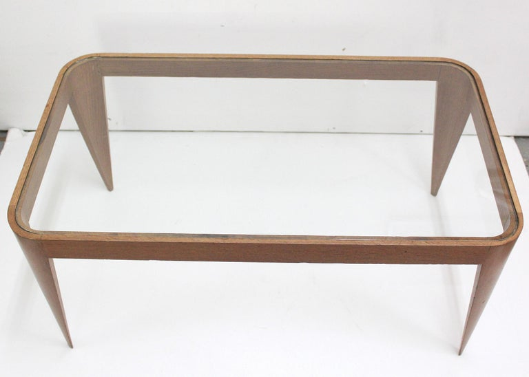 Italian Oak and Glass Coffee Table by Gio Ponti, Italy 1940 For Sale