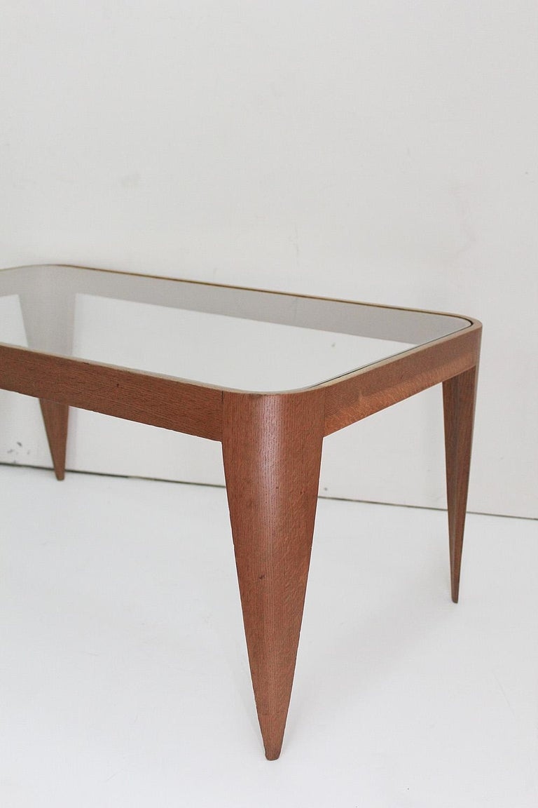Mid-20th Century Oak and Glass Coffee Table by Gio Ponti, Italy 1940 For Sale