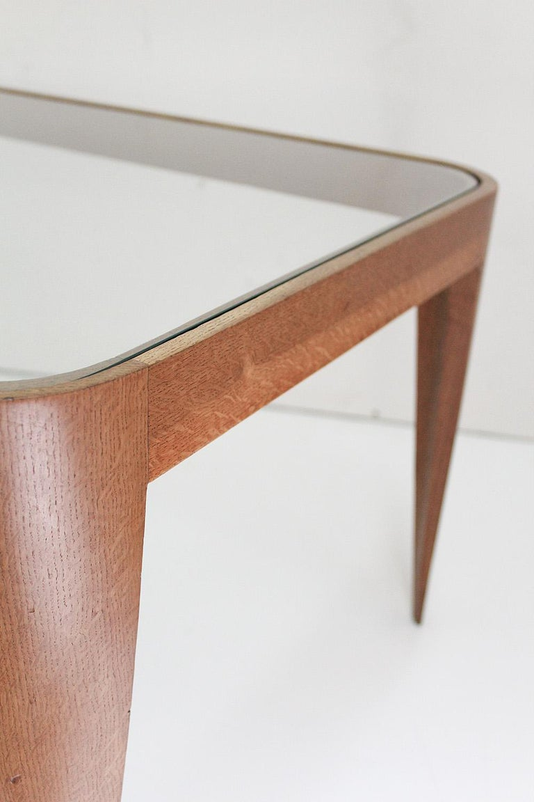 Oak and Glass Coffee Table by Gio Ponti, Italy 1940 For Sale 1