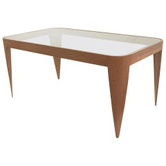 Oak and Glass Coffee Table by Gio Ponti, Italy 1940