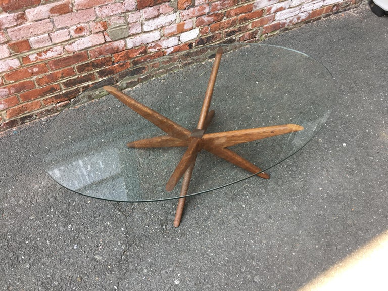 American Oak and Glass Starburst Coffee Table For Sale
