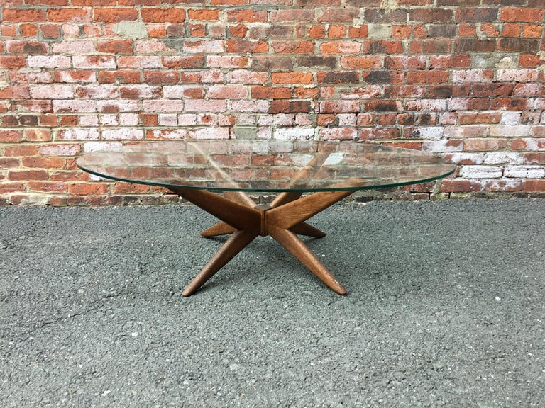 Oak and Glass Starburst Coffee Table For Sale 1