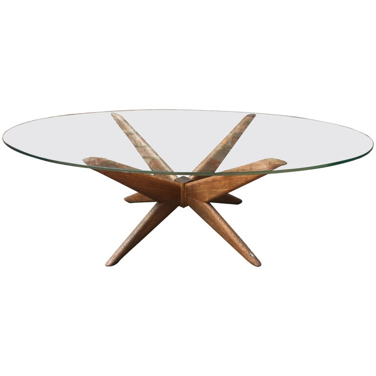 Oak and Glass Starburst Coffee Table For Sale