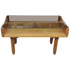 Oak and Glass Top French Coffee Table, circa 1950