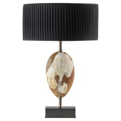 Oak and Horn Table Lamp