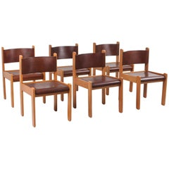 Oak and Leather Dining Chairs