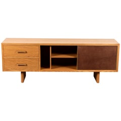 Oak and Leather Inverness Media Cabinet by Lawson-Fenning