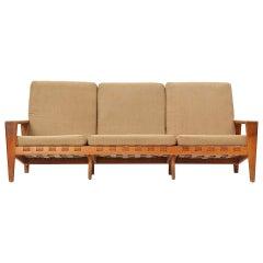 Oak and Leather Strap Sofa