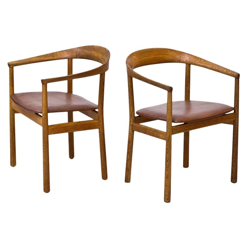 """Oak and Leather """"Tokyo"""" Chairs by Carl-Axel Acking for Nordiska Kompaniet"""