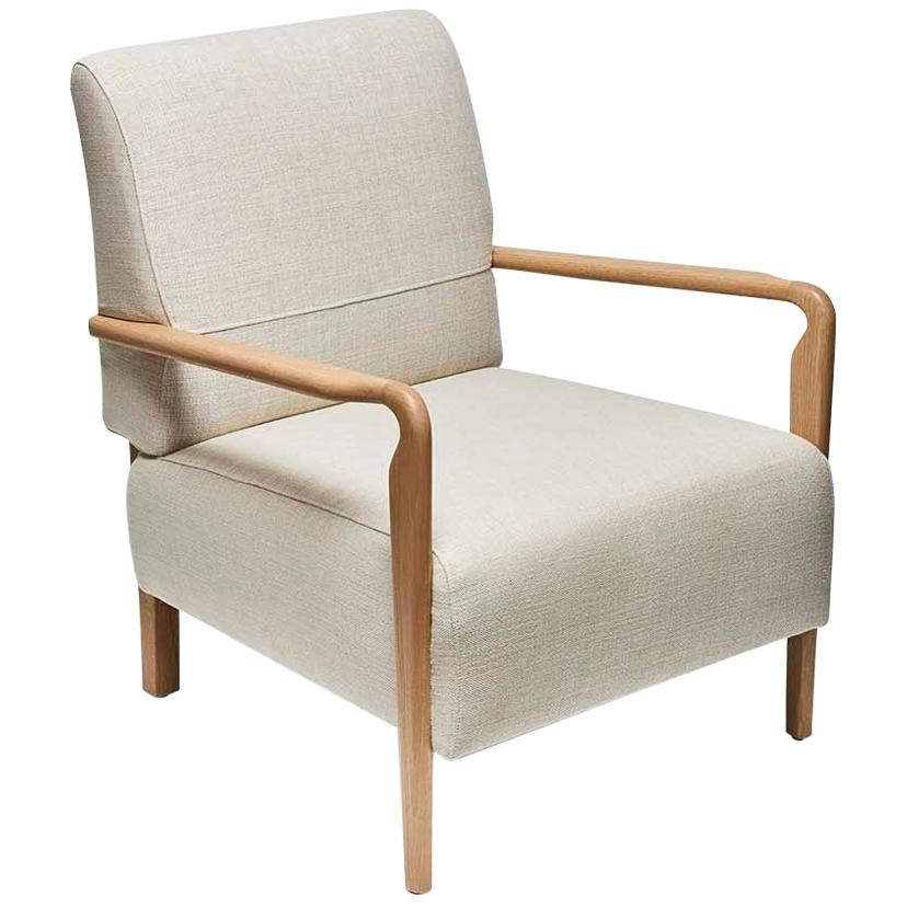 Oak and Linen Niguel Lounge Chair by Lawson-Fenning