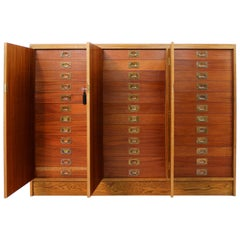 Oak and Mahogany 36-Drawer Museum Collector's Cabinet