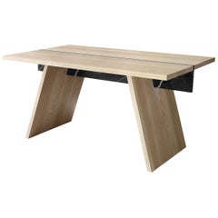 Oak and Marble Table from Collection Laws of Motion by Joel Escalona