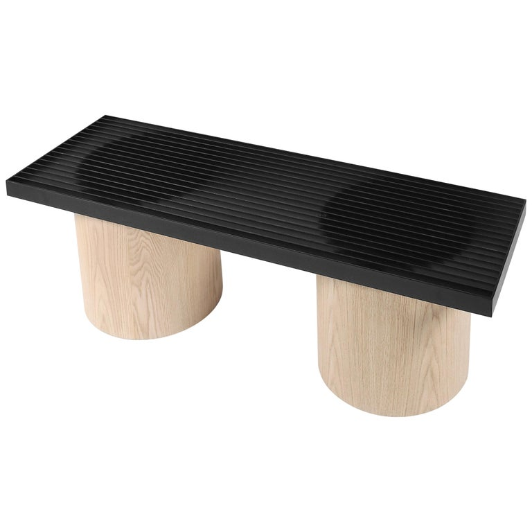 Oak and Metal Bench, Contemporary Seat Laws of Motion by Joel Escalona For Sale