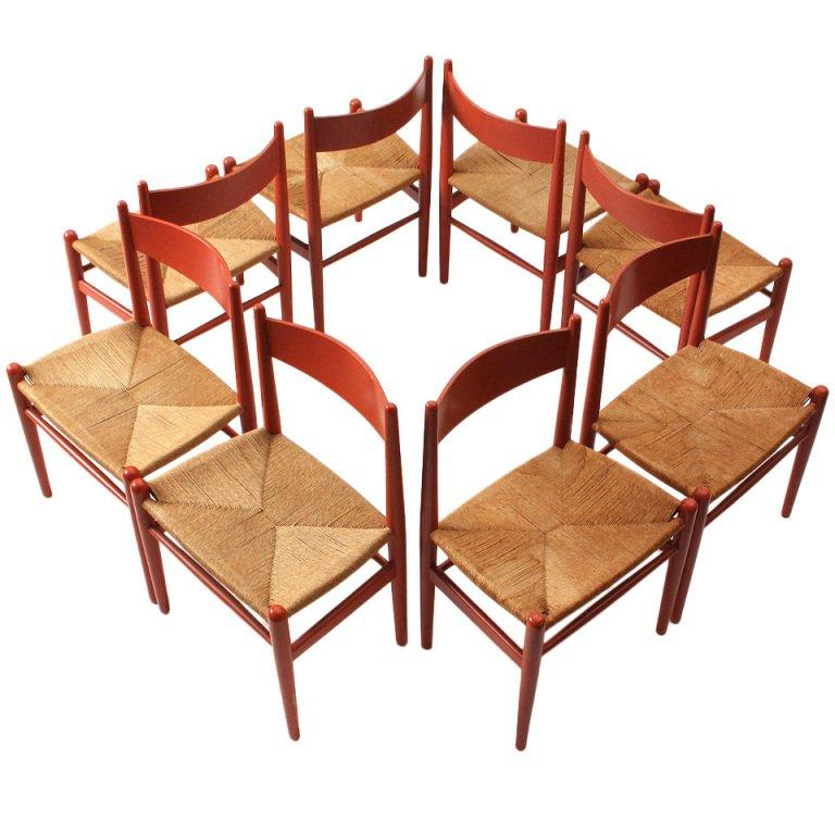 Oak and Papercord Chairs by Hans J. Wegner For Sale