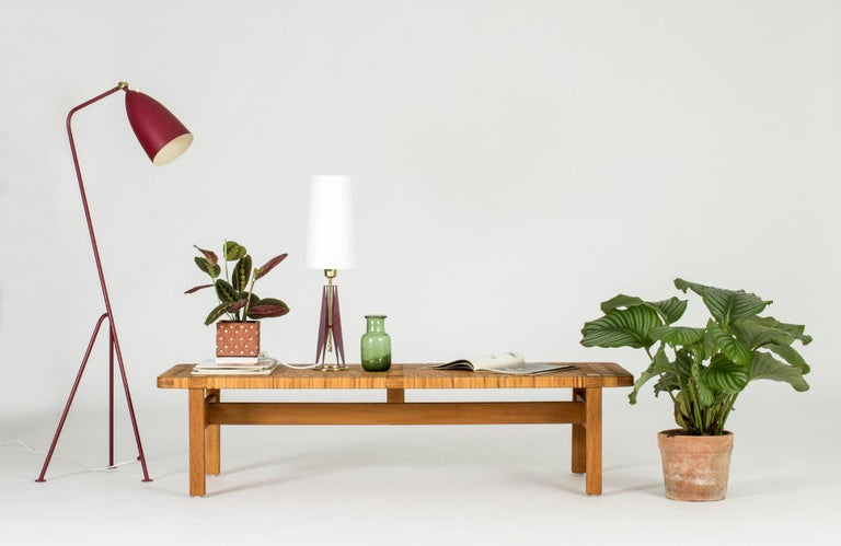 Oak and Rattan Bench by Børge Mogensen For Sale 4