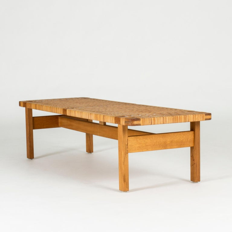 Awesome Oak And Rattan Bench By Borge Mogensen At 1Stdibs Short Links Chair Design For Home Short Linksinfo
