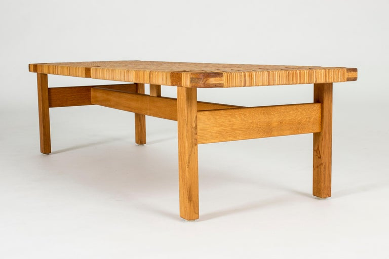 Danish Oak and Rattan Bench by Børge Mogensen For Sale