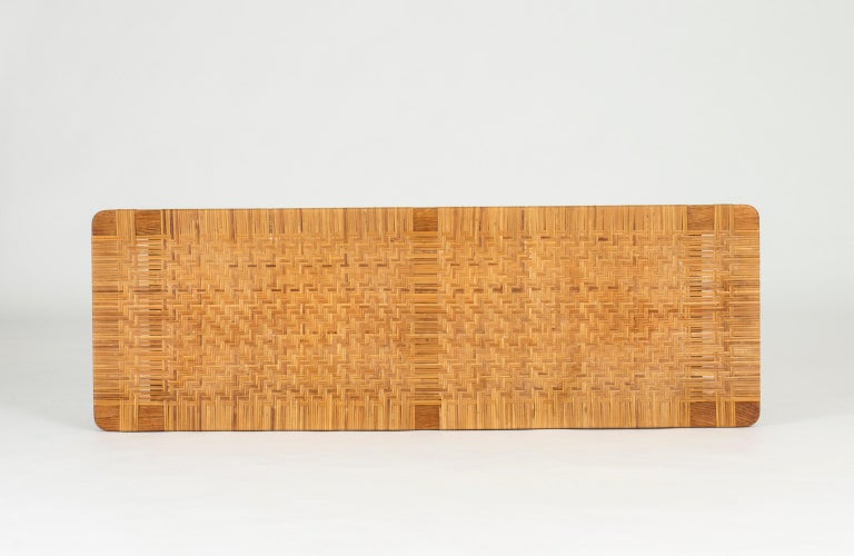 Oak and Rattan Bench by Børge Mogensen In Good Condition For Sale In Stockholm, SE