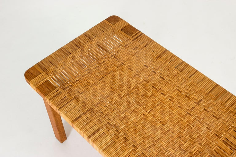 Mid-20th Century Oak and Rattan Bench by Børge Mogensen For Sale