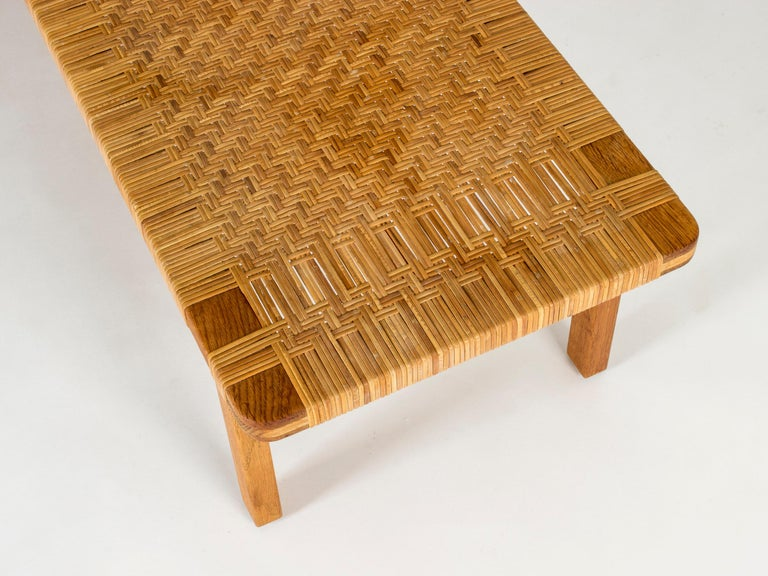 Oak and Rattan Bench by Børge Mogensen For Sale 1
