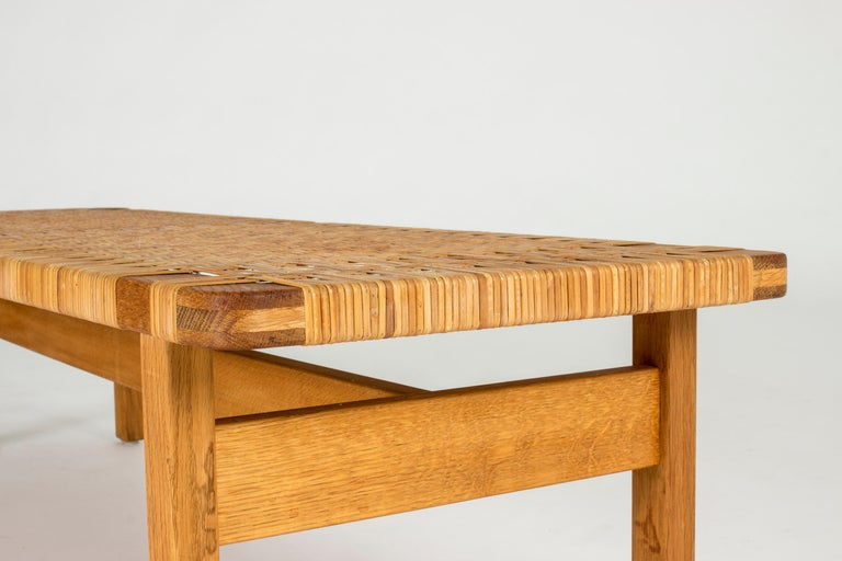 Oak and Rattan Bench by Børge Mogensen For Sale 2
