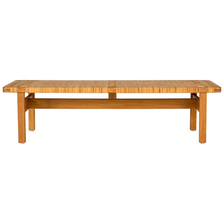 Oak and Rattan Bench by Børge Mogensen For Sale